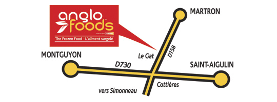 map to Anglo foods shop Located at Route martron, montguyon